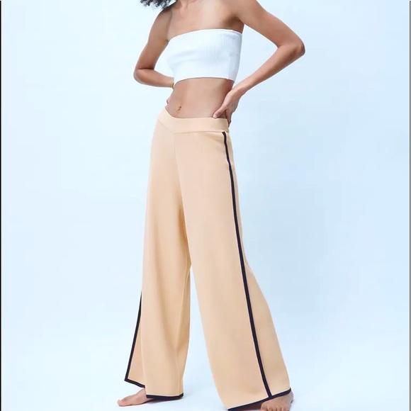 NWT- Zara High Waisted Knit Wide Leg Pants